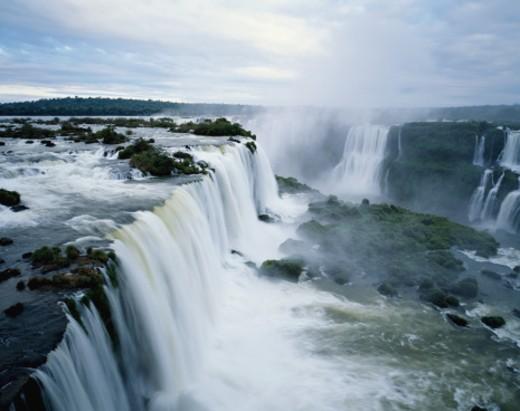 Stock Photo: 1527R-1080856 Brazil, Iguacu Falls, mist rising over falls