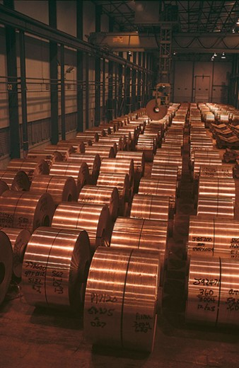 Aluminium Rolls in a Warehouse : Stock Photo