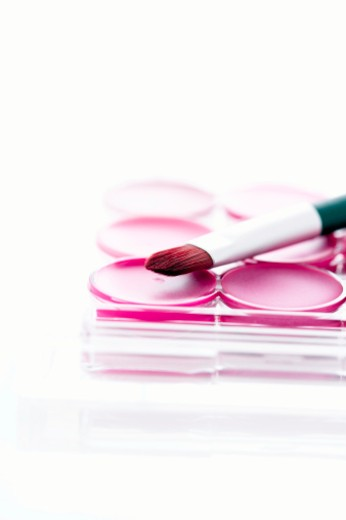 Lip brush resting on lip gloss palette, close-up : Stock Photo