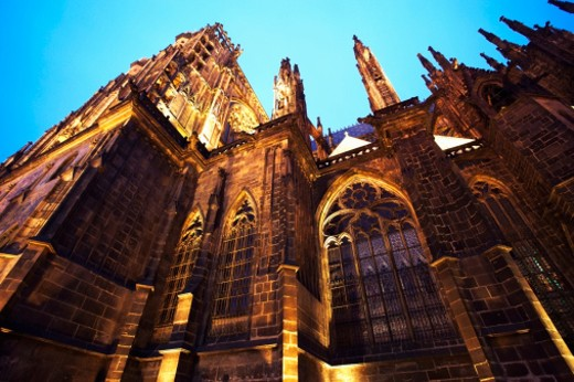 Czech Republic, Prague, Prague Castle, St Vitus Cathedral, dusk : Stock Photo