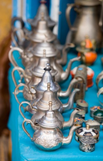 Stock Photo: 1527R-1102208 Morocco, Essaouira, metal teapots on market stall