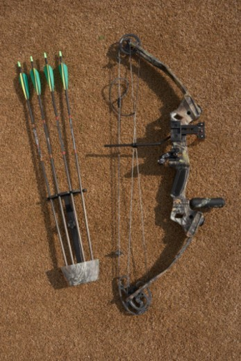 Hunting bow and arrows, overhead view : Stock Photo