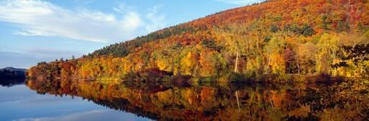 'Autumn colors along Connecticut River, Brattleboro, Vermont' : Stock Photo