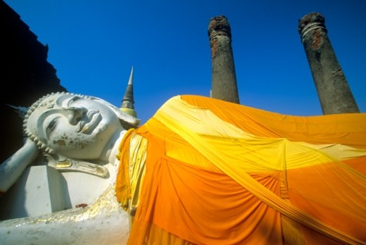 Stock Photo: 1527R-1108004 'Great Temple of Auspicious Victory Wat Yai Chai Mongkol, Ayutthaya,Thailand'