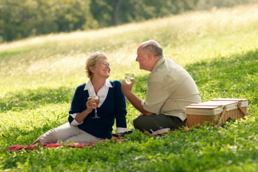 Senior couple having picnic : Stock Photo