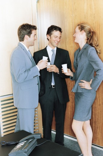 Stock Photo: 1527R-1110091 Two businessmen talking to businesswoman