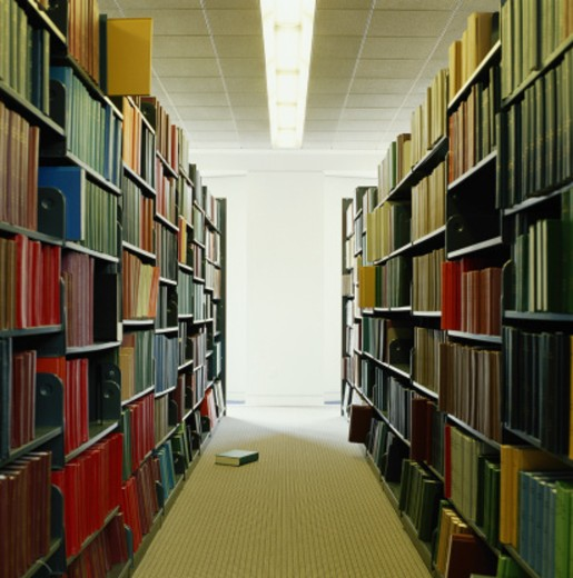 Rows of books on bookshelves in library : Stock Photo