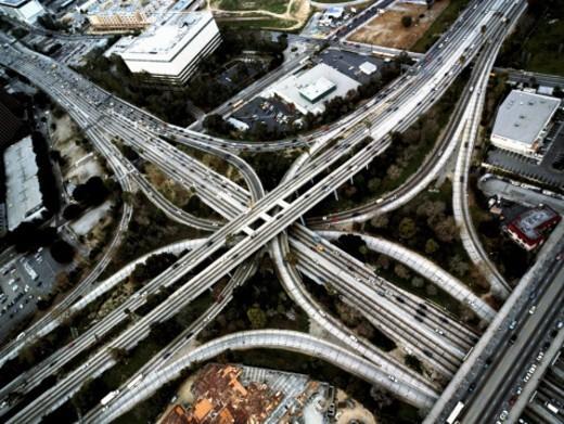 Stock Photo: 1527R-1114970 USA, California, Los Angeles, 110 and 101 freeway interchange