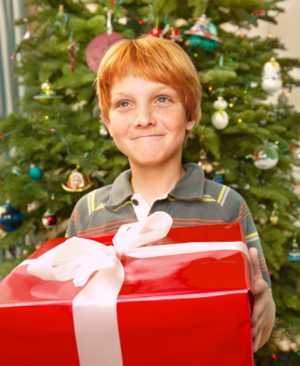 Stock Photo: 1527R-1130297 Boy (9-11) with present by Christmas tree, smiling, close-up, portrait