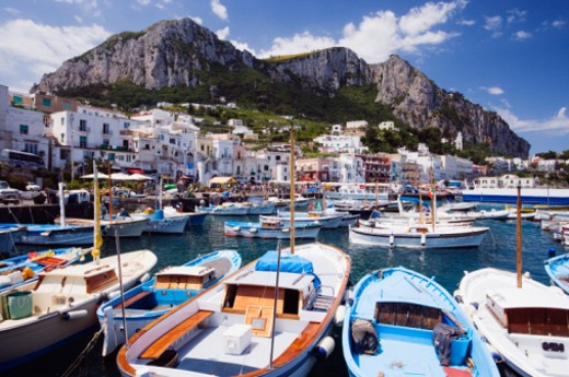 Stock Photo: 1527R-1133472 Italy, Capri, view from harbour at Marina Grande