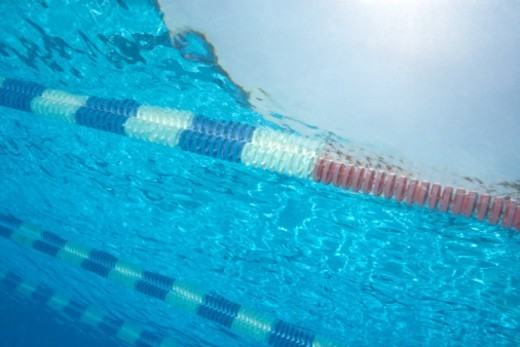 Stock Photo: 1527R-1137764 Swimming lane dividers in pool, underwater view