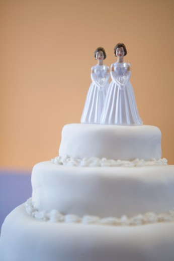 Stock Photo: 1527R-1139724 Wedding cake with two brides
