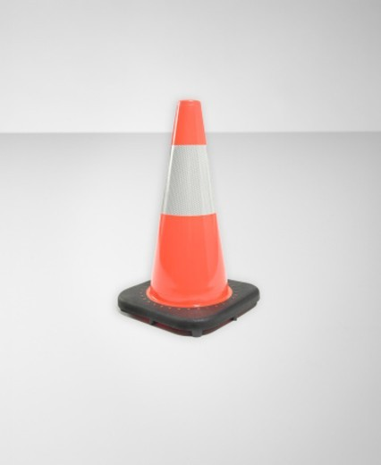 Stock Photo: 1527R-1156060 Single orange traffic cone (Digital Composite)