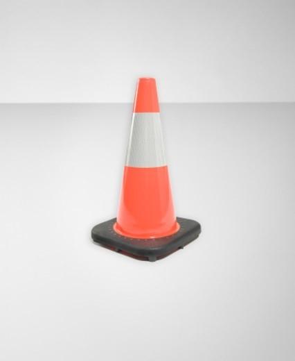 Single orange traffic cone (Digital Composite) : Stock Photo
