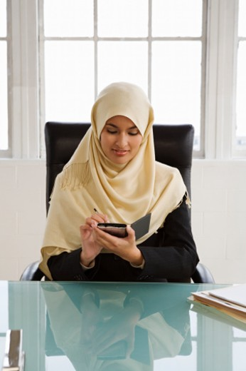 Young businesswoman using palmtop computer at desk : Stock Photo