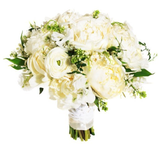 Stock Photo: 1527R-1161909 White rose floral bouquet bound with white ribbon