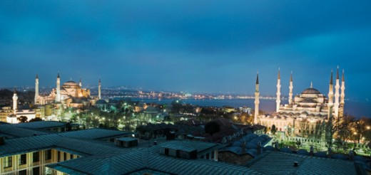 Sultanahmet district and Blue Mosque, Istanbul, Turkey : Stock Photo