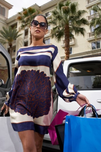 Stock Photo: 1527R-1163770 Woman walking with shopping bags out of car, low angle view
