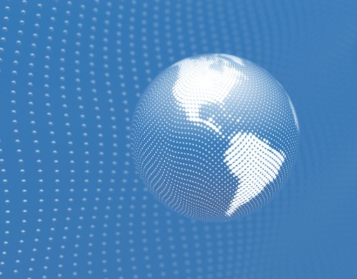 Globe made of halftone dots over network of spheres (Digitally Generated) : Stock Photo