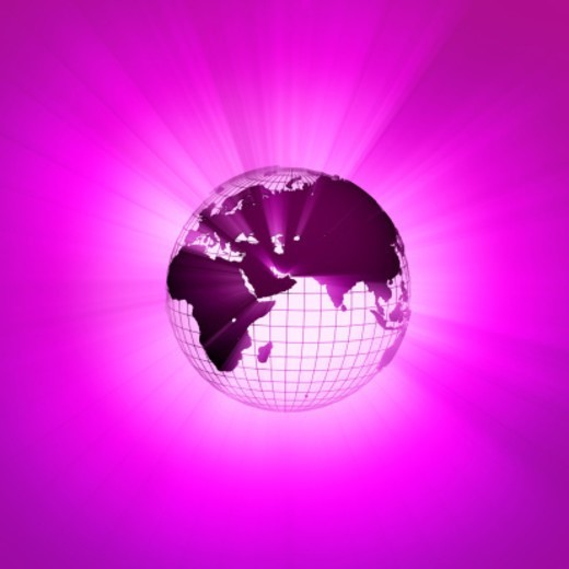 Rays of light emanating from behind wire frame globe (Digitally Generated) : Stock Photo