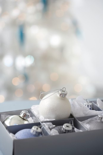 Stock Photo: 1527R-1167099 Box of Christmas ornaments, close-up