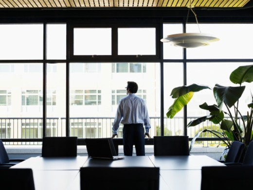 Businessman looking out windows in conference room, rear view : Stock Photo