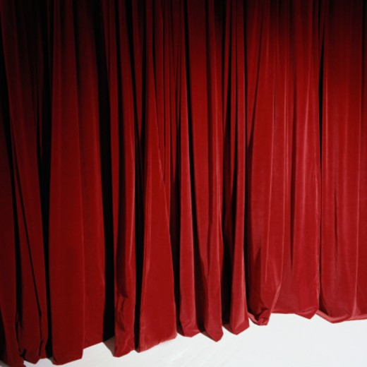 Red stage curtain, full frame : Stock Photo