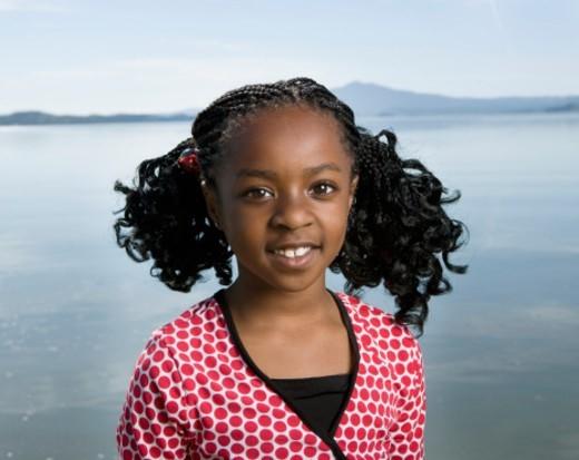 Stock Photo: 1527R-1174961 USA, California, San Francisco, Point Pinloe, girl (6-7) at lake, portrait