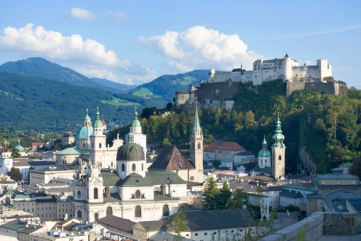 Austria, Salzburg , Hohensalzburg Fortress and city, elevated view : Stock Photo