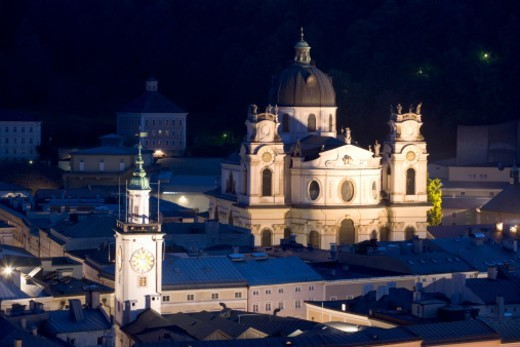 Austria, Salzburg , Kollegienkirche at night, elevated view : Stock Photo