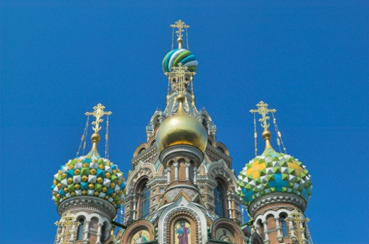 Russia, St Petersburg, domes of Church of the Saviour on Spilled Blood : Stock Photo