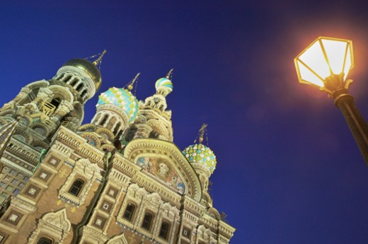 Stock Photo: 1527R-1176366 Russia, St Petersburg, Church of the Saviour on Spilled Blood at night