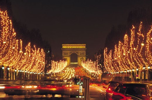 Champs Elysees at night : Stock Photo