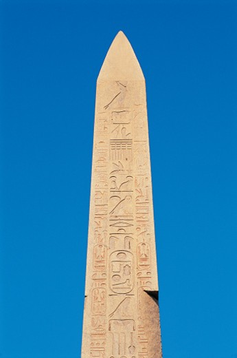Stock Photo: 1527R-1181572 Obelisk Decorated With Hieroglyphs, Temple of Karnak, Luxor, Egypt