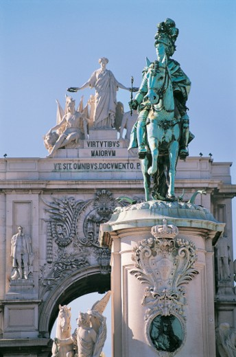 Statue of Dom Jose I and the Arcoda Victoria, Praca Do Comercio, Lisbon, Portugal : Stock Photo