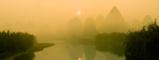 Stock Photo: 1527R-1186013 China, Guilin, mountain with river, aerial view