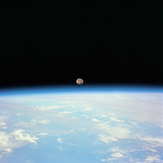 Moon Over the Earth : Stock Photo