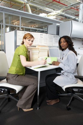 Stock Photo: 1527R-1189960 Two businesswomen in office, portrait
