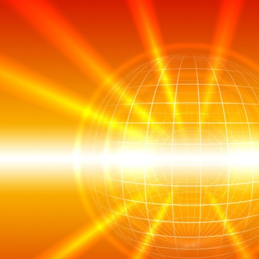 Stock Photo: 1527R-1198062 Bursts of light emanating from wire frame sphere