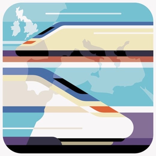 Stock Photo: 1527R-1205175 Speeding Passenger Train and An international Map