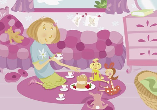 Young Girl Having a Doll's Tea Party in Her Bedroom : Stock Photo