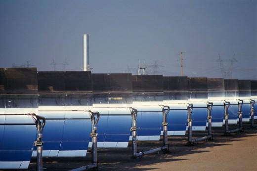 Row of solar panels at solar plant : Stock Photo