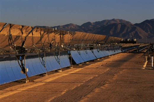 Row of solar panels at solar energy plant : Stock Photo