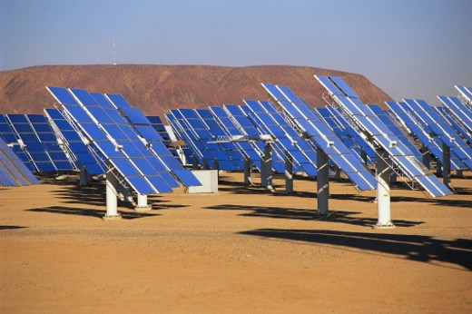 Solar panels at solar energy plant : Stock Photo