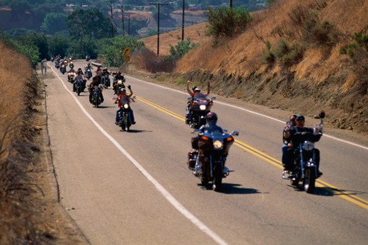 Stock Photo: 1527R-1205810 Group of motorcycles on road