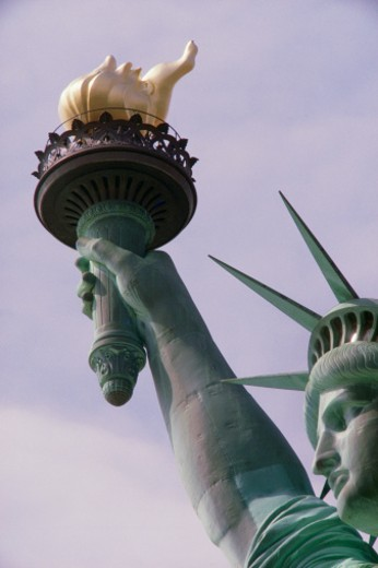 Detail of Statue of Liberty's arm holding torch : Stock Photo