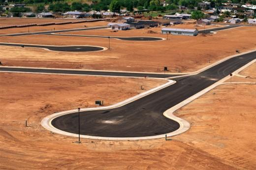 Desert land development in Utah : Stock Photo