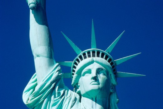 Head and partial arm of Statue of Liberty : Stock Photo