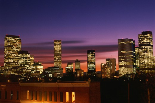 Dusk falling on Denver, CO : Stock Photo