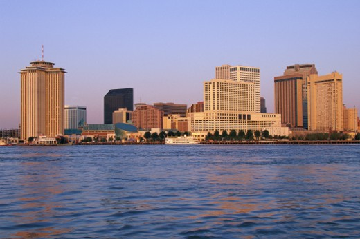 Stock Photo: 1527R-1206228 New Orleans skyline, seen from the Mississippi River